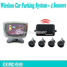 Newest Wireless Car Parking Assistance System with 4 Parking Sensors Wireless LCD Display Auto Backup Reverse Complete Kit(China)