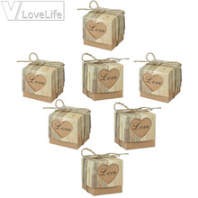100pcs/lot Romantic Heart Candy Box for Wedding Decoration Vintage Kraft Wedding Box Favors and Gift Box with Burlap Twine Chic