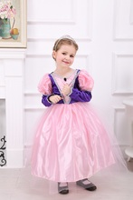 Lovely Pink Princess Dress Halloween Cosplay Costume Puff Sleeve Girls Holiday Christmas Party Dress Bride Maid  Dress 3-5Y
