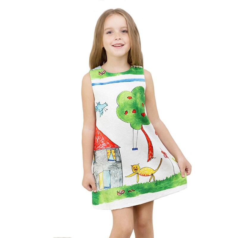 Girls Dress Autumn Children Cartoon Graffiti Princess Dresses Kids Vest Print A-line for Party Clothes for 4Y-12Y<br>
