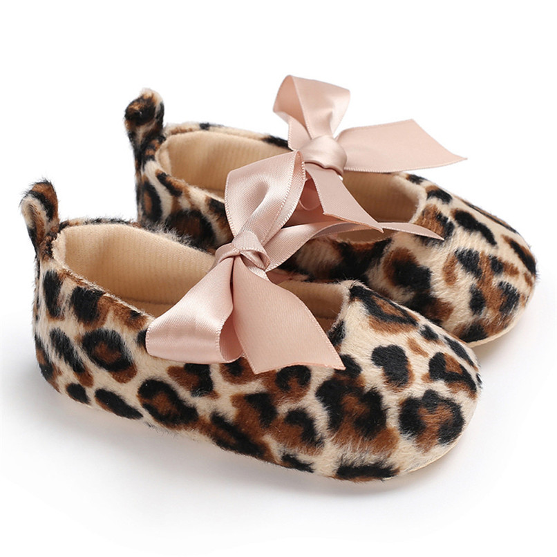 Toddler Cute Girl Leopard Print Tie Soft Newborn Anti-slip Baby Shoes First Walker A84L073 (2)