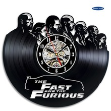 Fast And Furious Vinyl Record Clock Wall Art Home Decor Room Design large wall clock