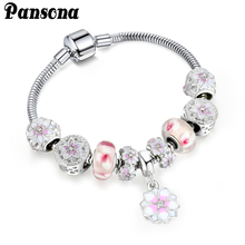 Pink Flower Bead Snap Clasp Zircon Enamel Bracelet Charms Romantic Gift Fit Original Bracelets For Women Bracelets  AA179