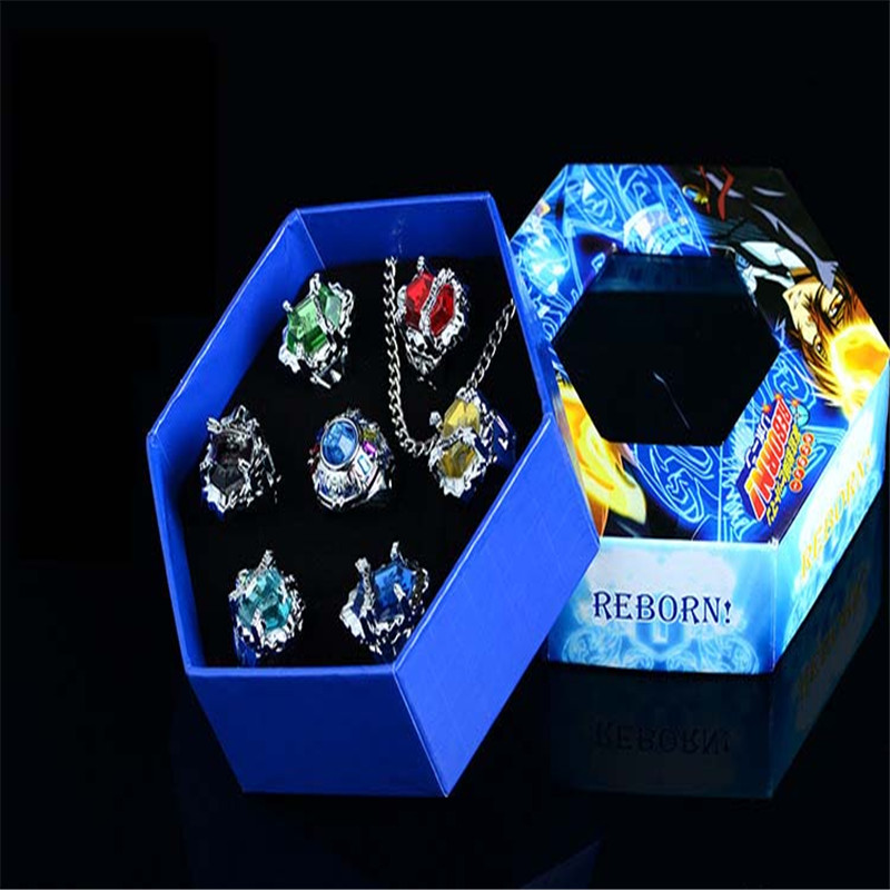 Tutor ring set Future article three generations Peng Ge column ring toy necklace REBORN anime COSPLAY props model<br><br>Aliexpress