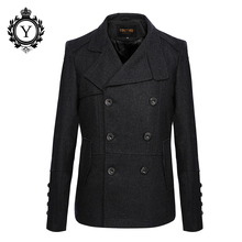 COUTUDI 2017 New Arrival Men's Wool Jacket Coat Male Winter Coats Solid Black Slim Jackets Fashion Turn-down Collar Men Clothing(China)