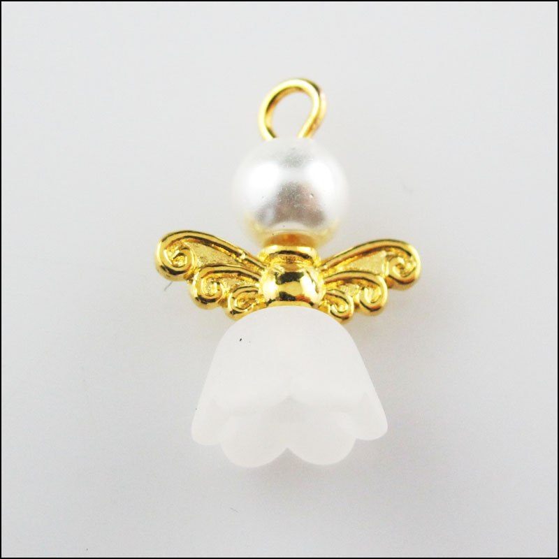 6Pcs Silver Plated Wings White Heart Dancing Angel Charms Pendants 22x30mm