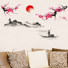 New Removable PVC Chinese Traditional ink Wall Sticker Hot Sun Green Hill Flower Wall Sticker For Sitting Room & Living Room
