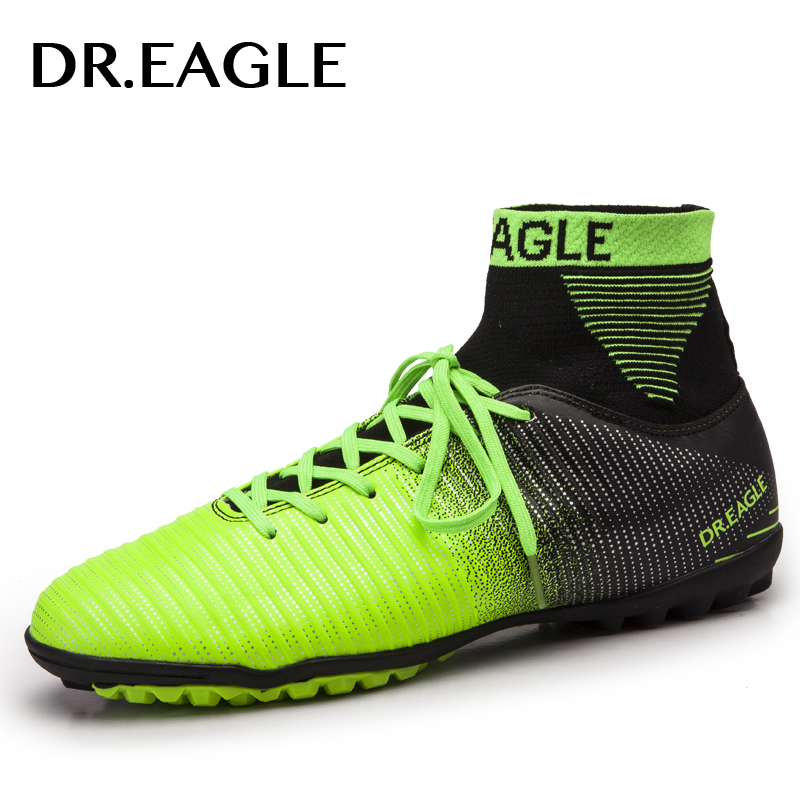 DR.EAGLE indoor turf/TF crampon high ankle futsal football boots sneakers soccer shoes kids shoe cleats boys shoes men sock<br>