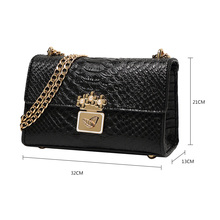 Women Fashion Casual Small Shoulder Bags Crocodile Design Solid Women Crossbody Bags Women Golded Chain Flaps bolsa feminina