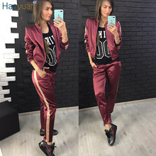 HAOYUAN Satin Two Piece Set Casual Top And Pants 2017 Winter Autumn Track Suits Tracksuit 2 Piece Outfits For Women Clothes