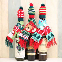 Christmas Party Supplies Wine Bottle Clothes Cover Scraf +Hat Santa Reindeer Dinning Tableware Decoration(China)