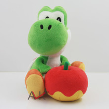 "1pcs Green Cute 7"" Super Mario Bros Yoshi and Apple Rare Cute Soft Plush Toy Doll Kids Birthday Gift Boy Plush Game Toys(China)"