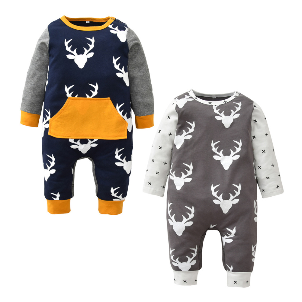 Newborn Baby Boys Girls Jumpsuit Long Sleeve Letter Printing Hooded Romper with Zipper