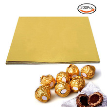 "Coceca 200pcs 4"" Square Gold Aluminium Foil Paper Candy Wrappers Chocolate Wrappers for Packaging Candies and Chocolate"