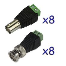 8 Pairs Coax CAT5 To BNC Male&Female Plug Video Balun Connector Adapter for 8CH System