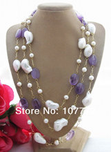 Pearl&Bead-Nucleated Pearl&purple crystal Necklace