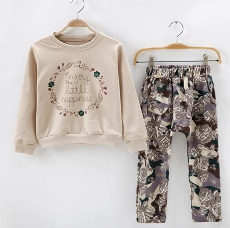 Casual Clothing For Girls Cotton O-neck Spring Sport Suit For Children Country Style Floral Pants Autumn Ensemble Fille <br>