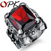 OPK Brand Design Royal Square Blood Red Rings for Men Inlaid Austria AAA Zircon Top Grade Unique Fashion Rings Accessory GJ430(China)