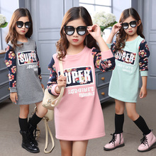 fleece thick 2016 autumn winter dress for girls flowers printed sweatshirts big little girls dresses pink gray green clothes