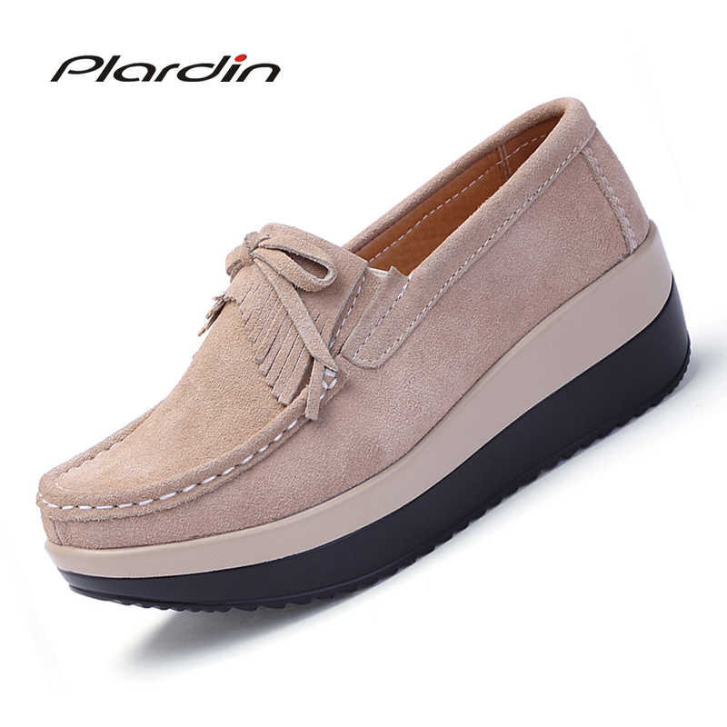 Plardin New Autumn women flats shoes tassel fringe platform shoes leather suede casual shoes slip on flats footwear Creepers<br>
