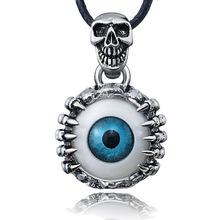 Punk Men's Skeleton Skull Eyes silver tone Titanium Stainless Steel leather chain Pendant Necklace X577