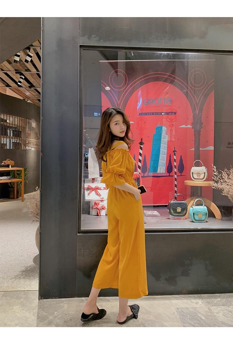 Women's Clothing 2019 Summer New Sexy Bohemian Style Spaghetti Strap Helf Sleeve High Waist Sling Long Beach Wide Leg Jumpsuit 24 Online shopping Bangladesh