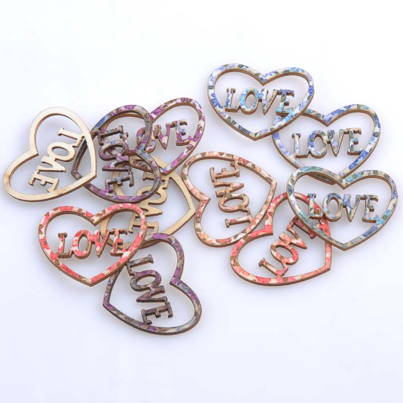 Heart Love Multicolor wooden Scrapbooking Handmade Carft for Home decoration 100pcs 33x40mm MT0793<br><br>Aliexpress