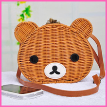 Free shipping, lori cute little bear with wooden handle straw bag Teddy bear hand woven the cane makes up female bag A063