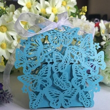 100pcs Handmade Artificial Butterfly Celebration Paper Candy Gift Box Wedding Party Home Decor  6 Color Purple Blue VD009