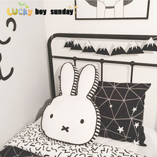 lucky boy sunday cut rabbit pillow for kids room decoration rabbit plush doll rabbit pillow cushion kids toy gift for girlfriend(China)