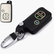 Car Genuine Leather Remote Control Car Keychain Key Cover Case For Toyota Land Cruiser lc200 3Buttons Smart Key  L403