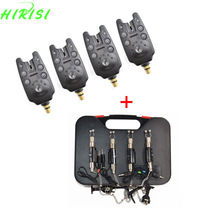 Carp fishing equipment 4pcs fishing bite alarms and 4pcs fishing swingers in black plastic case
