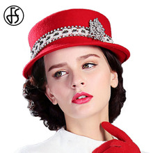 FS Autumn Winter Women 100% Wool Felt Fedora Hat Classical Cap Chapeau Femme Ladies Solid Red Bowler Hats Elegant Female(China)