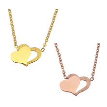 YYW Stainless Steel Jewelry Necklace Heart Gold-color oval chain for woman Sold Per Approx 18.5 Inch Strand