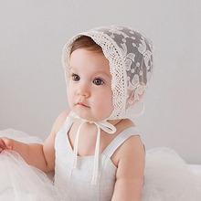 Sweet Princess Hollow Out Baby Girl Hat Summer Lace-up Beanie Pink/White Cotton Bonnet Enfant for 0-12M Vintage Style Baby