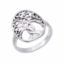 Lemegeton 7.5mm ring Tree of life silver color rings finger rings party decoration fashion rings for engagement and gifts(China)