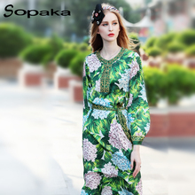 SOPAKA High Quality 2017 Autumn Long Sleeve Loose Grees grape and Green Leaf printed Beading Sashes Runway Designer Women Dress(China)
