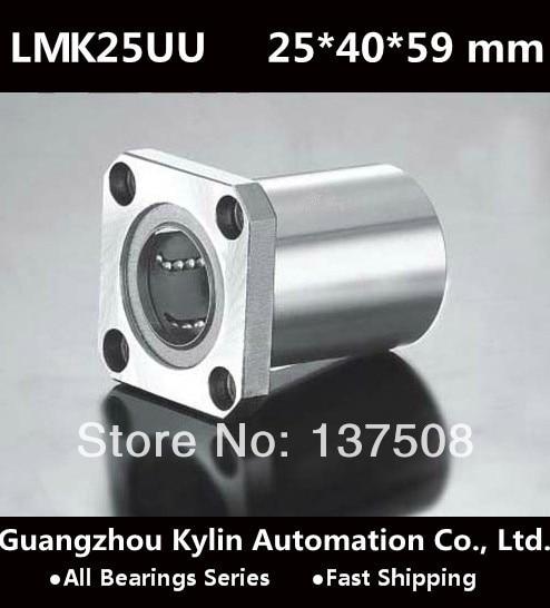 On Sale!2pcs LMK25UU 25x40x59mm Square Flange Linear Bushing Ball Bearing 25mm linear System Router Shaft Bearing CNC<br><br>Aliexpress