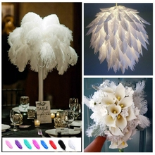 10PCS Ostrich Feather White Feathers Natural Plume 44CM Long Exquisite Decorative Feathers For Crafts Home Party Decorations(China)