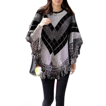 Gray Geometry Plaid Knitted Cloak Jumper Women Tassels Hem Sweaters And Pullovers Batwing Sleeve Pull Femme Ponchos And Capes