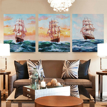 Cheap Boat and Ocean Hand Painted Oil Painting On Canvas Home Decorative Art Pictures Wholesale(China)