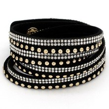 9 colors Ebay Hot Slake Deluxe Bracelet Rivet Multi-layer Wrap Austrian Crystal Leather Bracelet Bangles For Women
