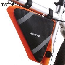New Waterproof Roswheel Mountain Bicycle Bike Bag Front Frame PVC Tube Triangle Bag Blue/Orange(China)