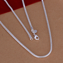 40cm 50cm 60cm option Men's Chokers necklaces jewelry 16'' 3mm 925 sterling silver necklace snake chains n192 gift pouches free(China)