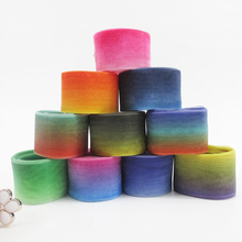 "1""25mm Rainbow double side heat transfer Chiffon Gradient color ribbon 50 yards,DIY handmade material,wedding gift wrap,50Y49610"