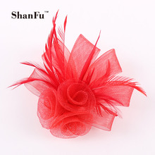ShanFu Ladies Mesh Fascinator Black Feather Brooch Designer Hair clip Navy Hair Accessories SFB6884