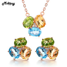MoBuy Gemstone Earrings & Necklaces 2pcs Jewelry Sets Topaz Citrine Peridot 925 Sterling Silver Wedding Fine Jewelry V003EN