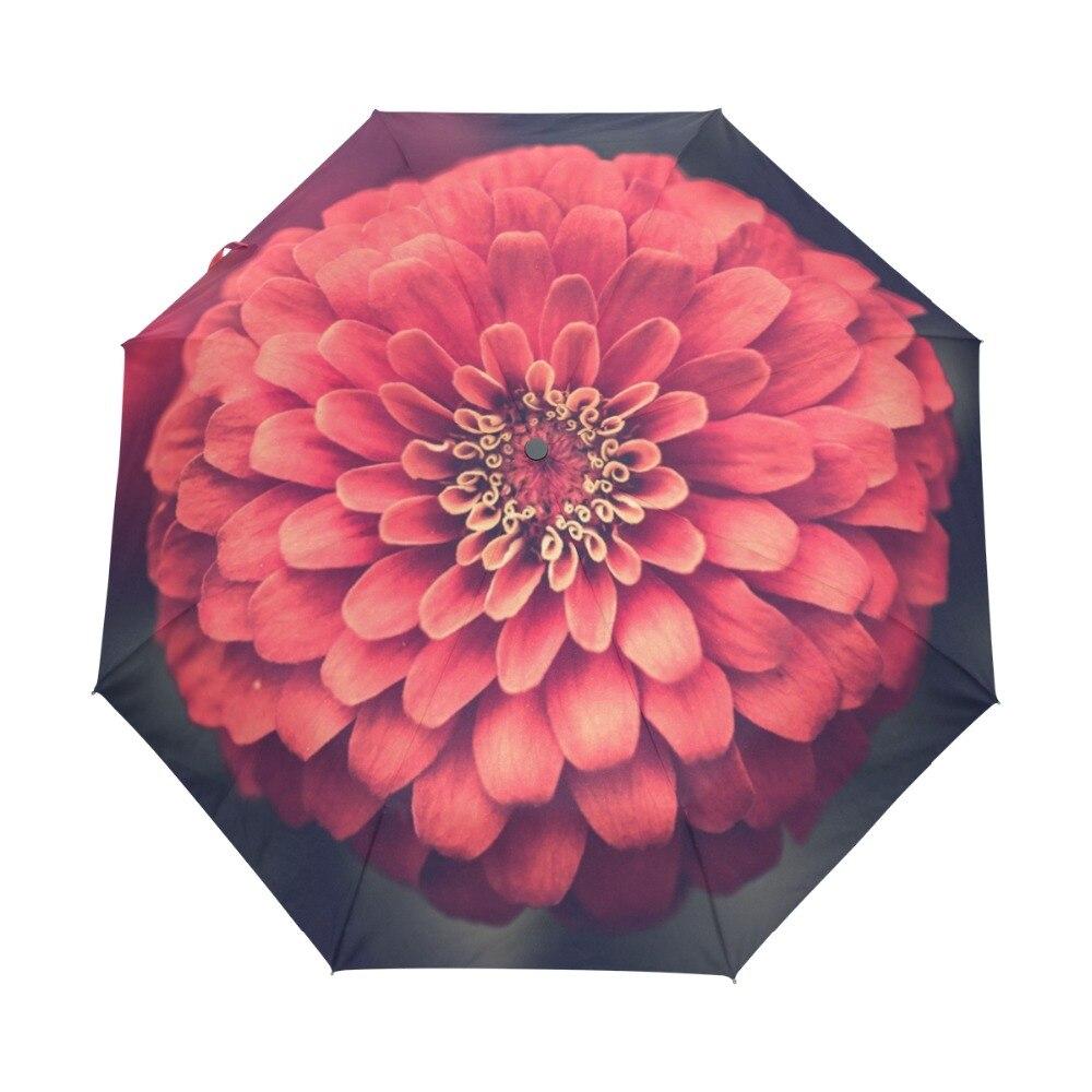 2018 Red Dahlia Flower Printed Automatic Umbrella Folding Umbrella