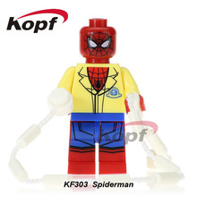 Single Sale Super Heroes Homecoming Spiderman With Hand Spidder&YOYO Ball Spider-man Building Blocks Children Gift Toys KF303