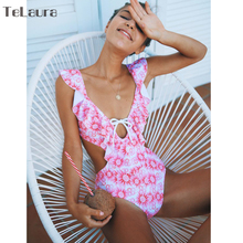 Buy 2018 Sexy One Piece Swimsuit Women Swimwear Shoulder Push Monokini Bodysuit Ruffle Swimsuit Solid Hollow Bathing Suit